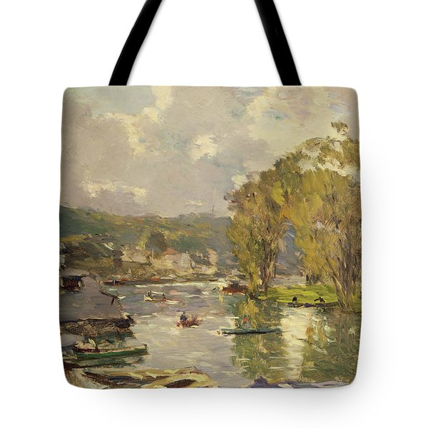 Along The Seine At Meudon Tote Bag by Albert Charles Lebourg