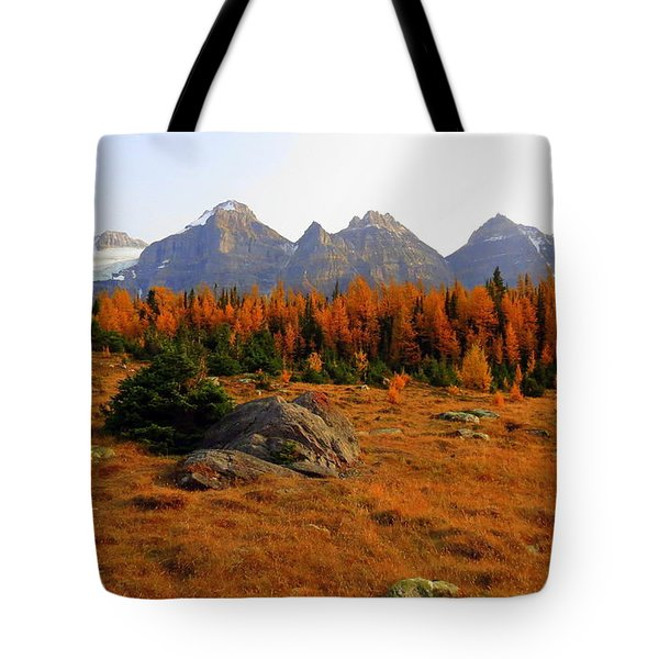 Alpine Larch Meadow Tote Bag by Ramona Johnston