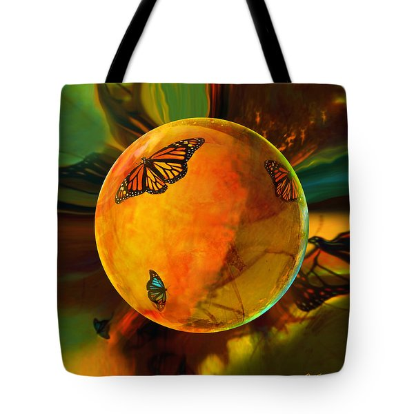 Ambered Butterfly Orb Tote Bag by Robin Moline