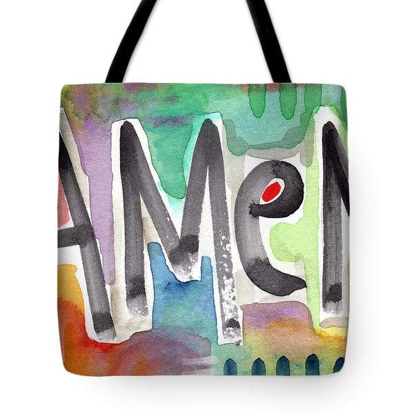 Amen Greeting Card Tote Bag by Linda Woods