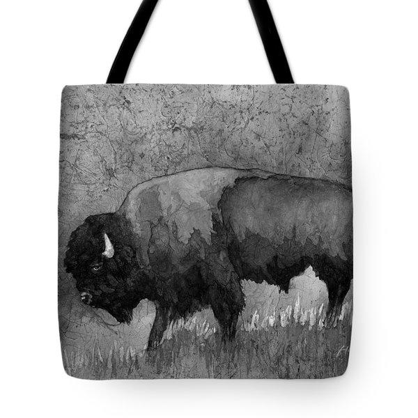 Monochrome American Buffalo 3  Tote Bag by Hailey E Herrera