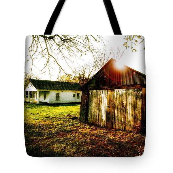 American Fabric   Mickey Mantle's Childhood Home Tote Bag by Iconic Images Art Gallery David Pucciarelli