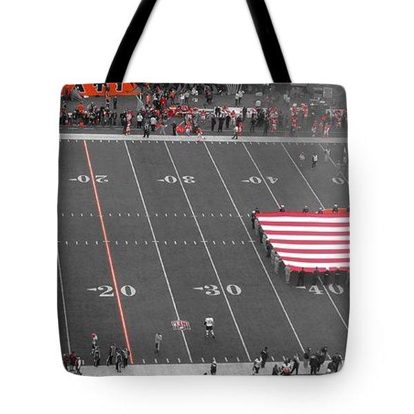 American Flag At Paul Brown Stadium Tote Bag by Dan Sproul
