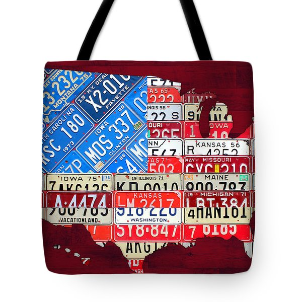 American Flag Map Of The United States In Vintage License Plates Tote Bag by Design Turnpike