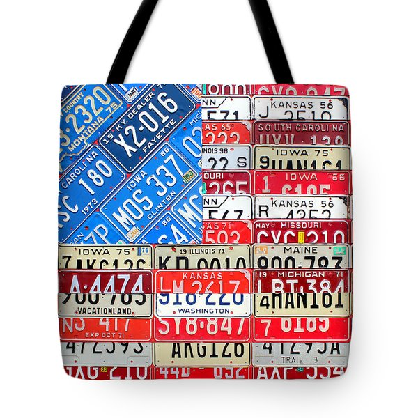 American Flag Recycled License Plate Art Tote Bag by Design Turnpike