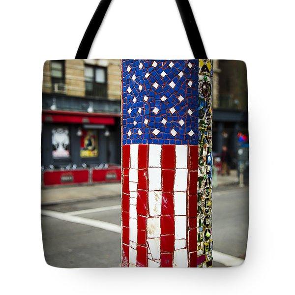 American Flag Tiles Tote Bag by Garry Gay