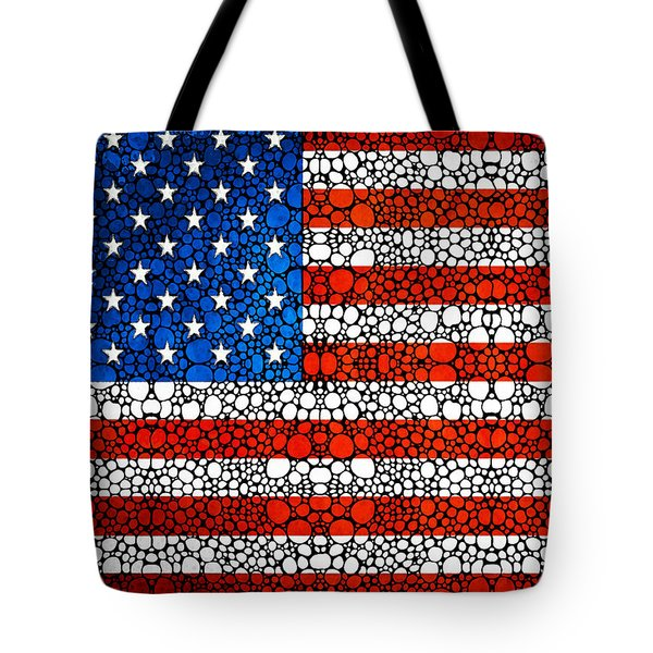 American Flag - Usa Stone Rock'd Art United States Of America Tote Bag by Sharon Cummings