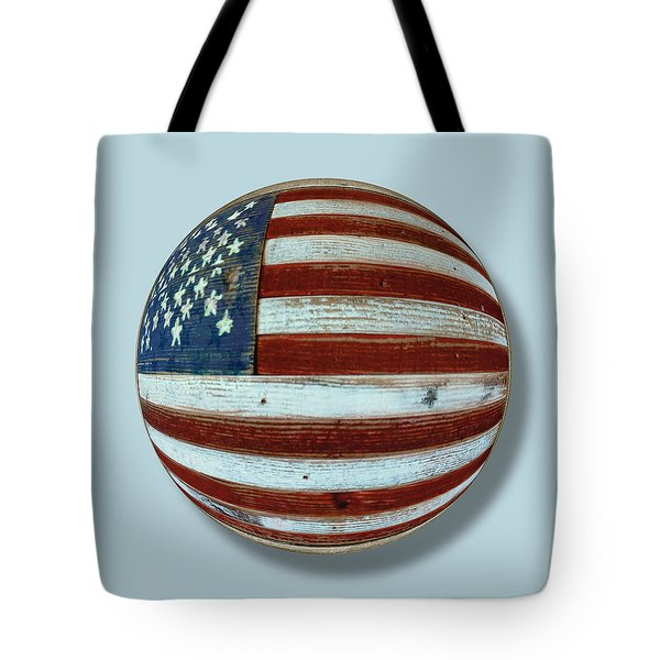 American Flag Wood Orb Tote Bag by Tony Rubino