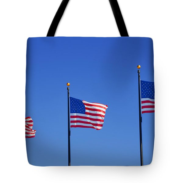 American Flags - Navy Pier Chicago Tote Bag by Christine Till