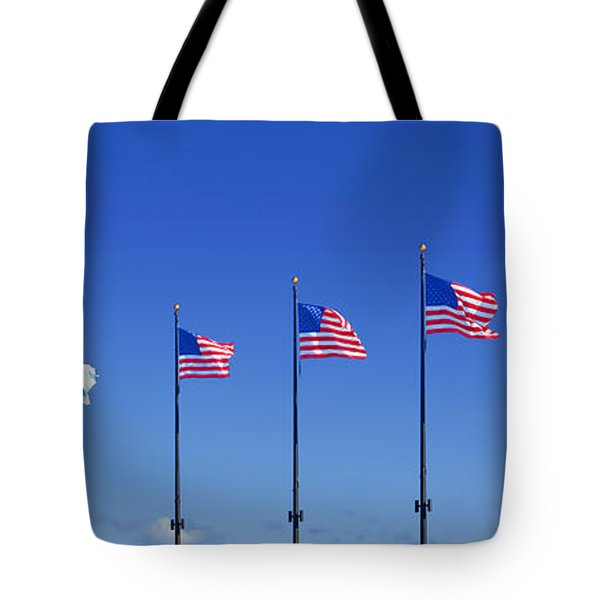American Flags On Chicago's Famous Navy Pier Tote Bag by Christine Till