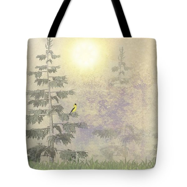 American Goldfinch Morning Mist Tote Bag by David Dehner