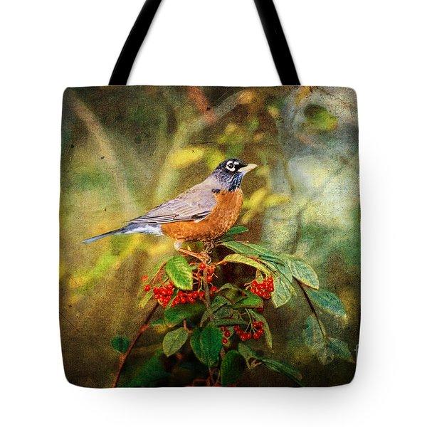 American Robin - Harbinger Of Spring Tote Bag by Lianne Schneider