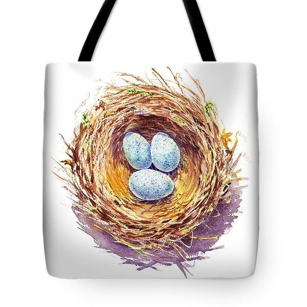 American Robin Nest Tote Bag by Irina Sztukowski