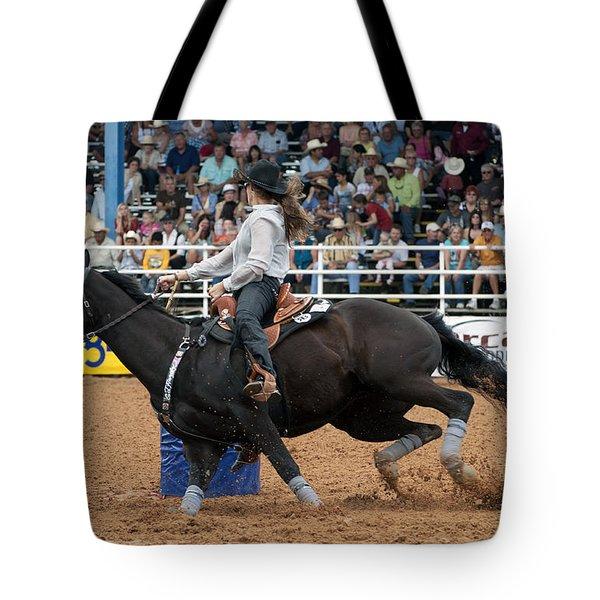 American Rodeo Female Barrel Racer Dark Horse I Tote Bag by Sally Rockefeller