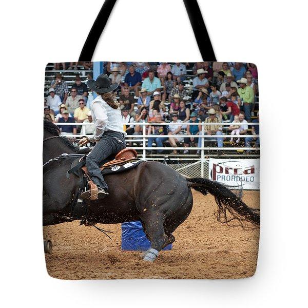 American Rodeo Female Barrel Racer Dark Horse II Tote Bag by Sally Rockefeller