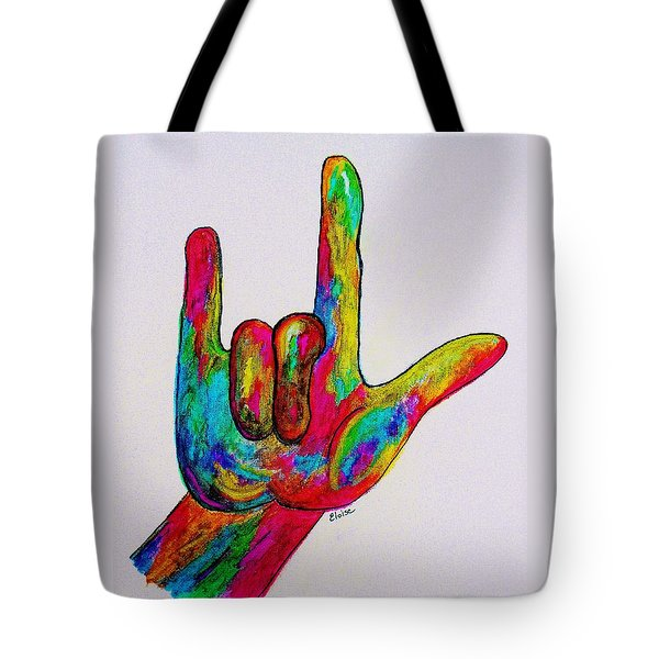 American Sign Language I Love You Tote Bag by Eloise Schneider
