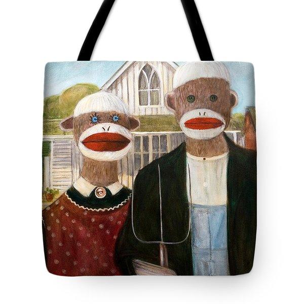 American Sock Monkeys Tote Bag by Randy Burns