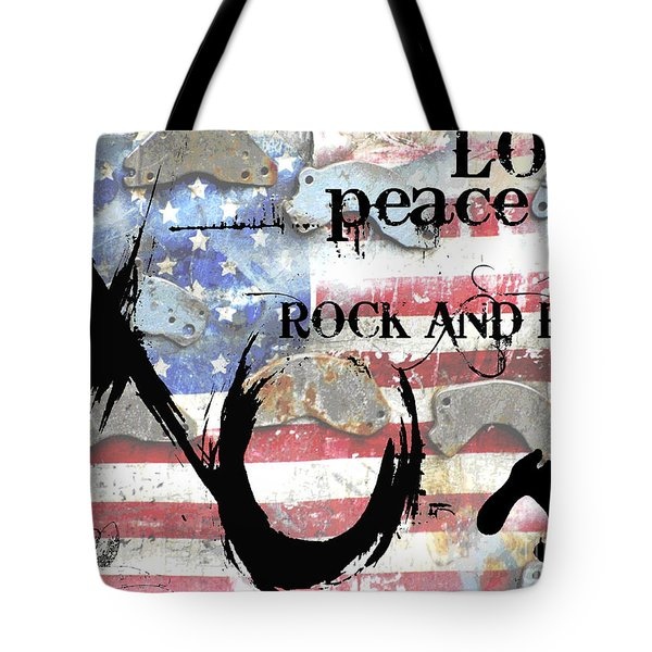 Americana Love Peace and Rock and Roll Tote Bag by Anahi DeCanio