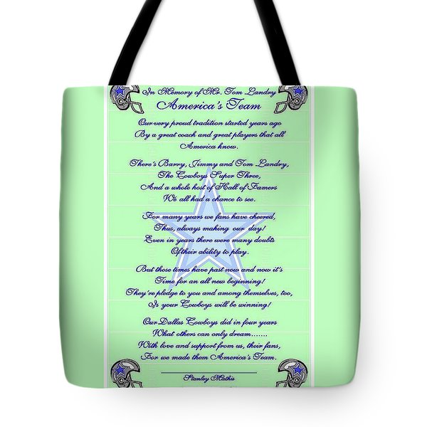 America's Team Poetry Art Poster Tote Bag by Stanley Mathis