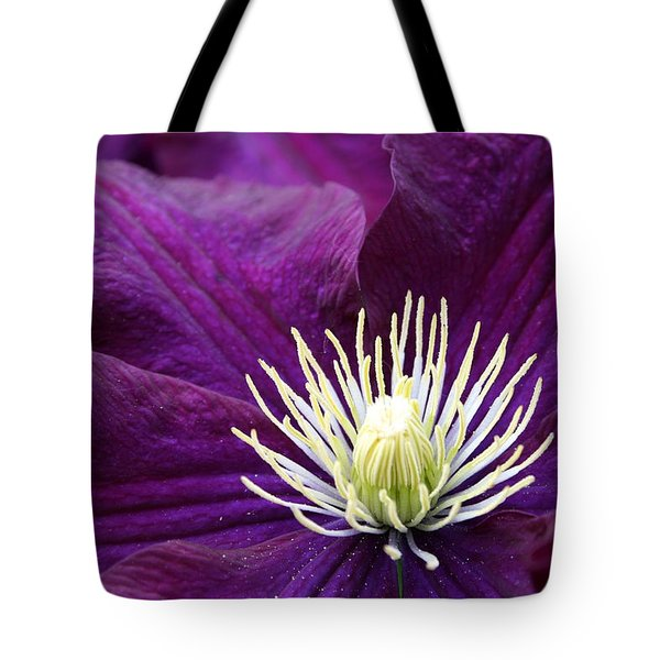 Amethyst Colored Clematis Tote Bag by Kay Novy