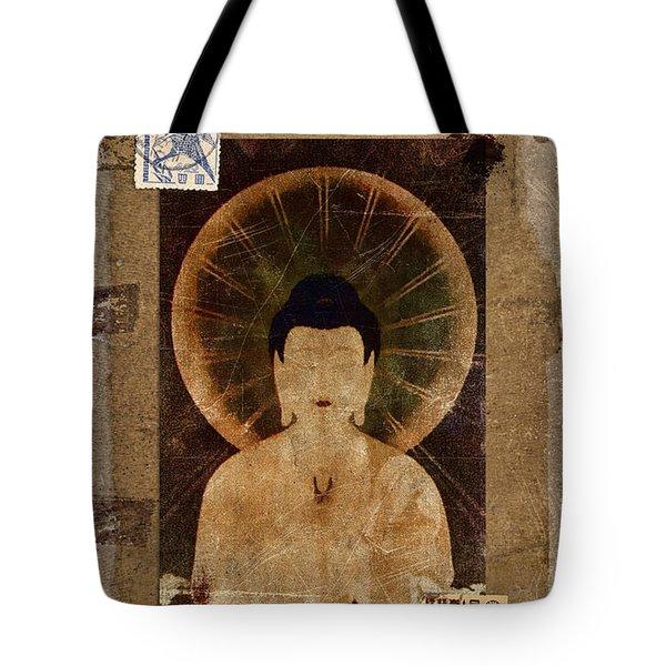 Amida Buddha Postcard Collage Tote Bag by Carol Leigh