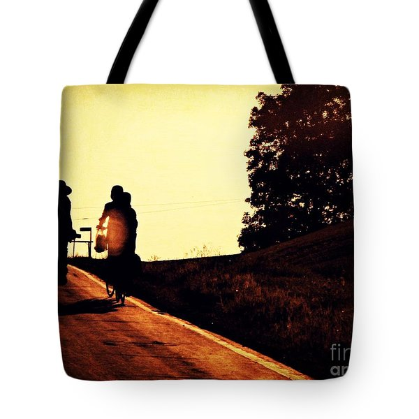 Amish Family Cycles Into Sunset Tote Bag by Beth Ferris Sale