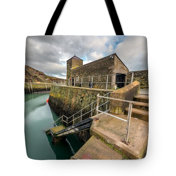 Amlwch Port Lighthouse Tote Bag by Adrian Evans