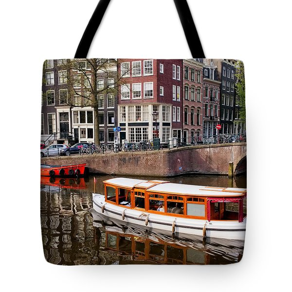 Amsterdam Canal and Houses Tote Bag by Artur Bogacki