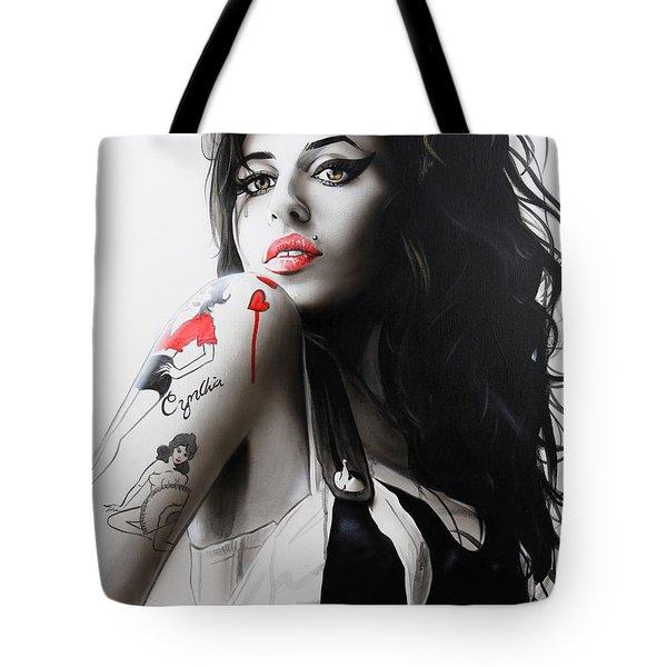 Amy Winehouse - ' Amy ' Tote Bag by Christian Chapman Art