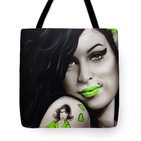 Amy Winehouse - ' Amy Jade ' Tote Bag by Christian Chapman Art
