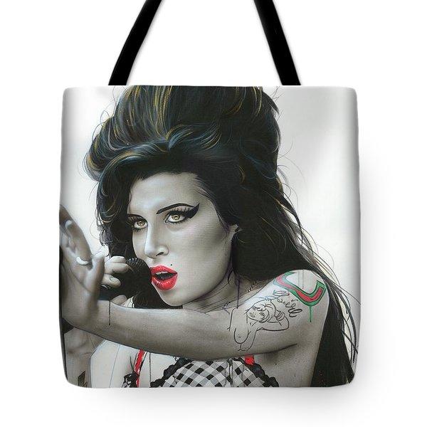 Amy Winehouse - ' Amy Vi ' Tote Bag by Christian Chapman Art