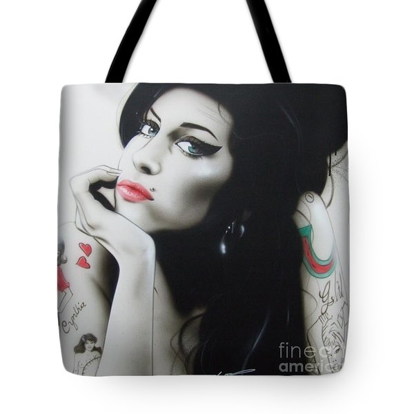 Amy Winehouse - ' Amy Your Music Will Echo Forever ' Tote Bag by Christian Chapman Art
