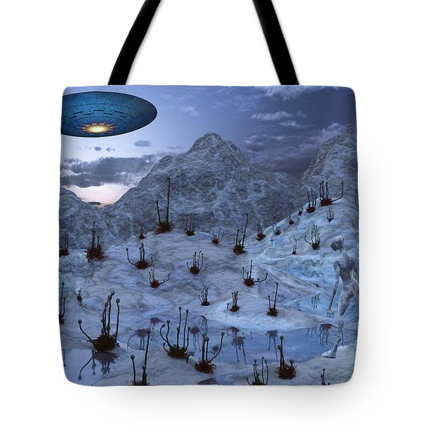 An Alien Reptoid Being Signaling Tote Bag by Mark Stevenson