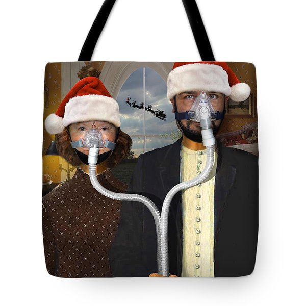 An American Gothic Sleep Apnea Merry Christmas Tote Bag by Mike McGlothlen