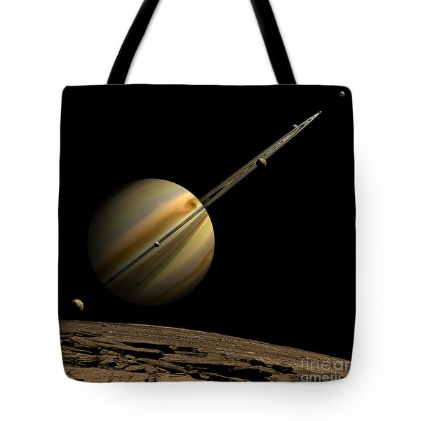 An Artists Depiction Of A Ringed Gas Tote Bag by Marc Ward