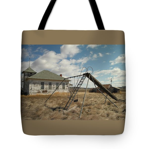 AN OLD SCHOOL NEAR MILES CITY MONTANA Tote Bag by Jeff  Swan