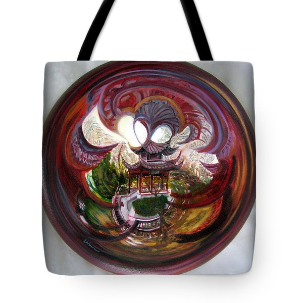Anamorphic Chinese Pagoda Tote Bag by LaVonne Hand