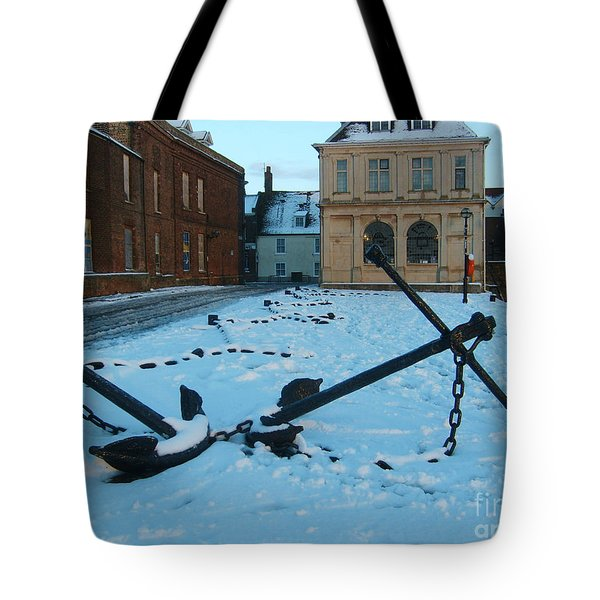 Anchored In Snow Tote Bag by Derek Knight