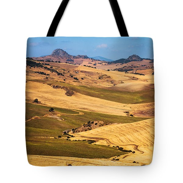Andalusian Patchwork Fields I. Spain Tote Bag by Jenny Rainbow