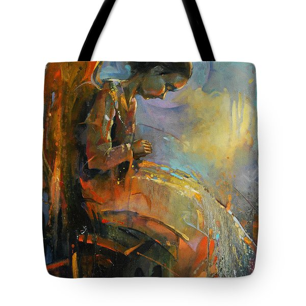 Angel Meditation Tote Bag by Michal Kwarciak