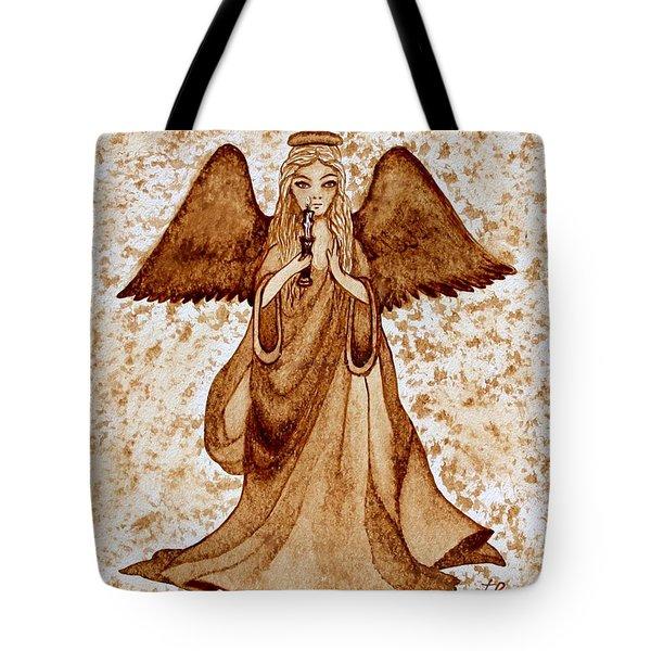 Angel Of Hope Original Coffee Painting Tote Bag by Georgeta Blanaru