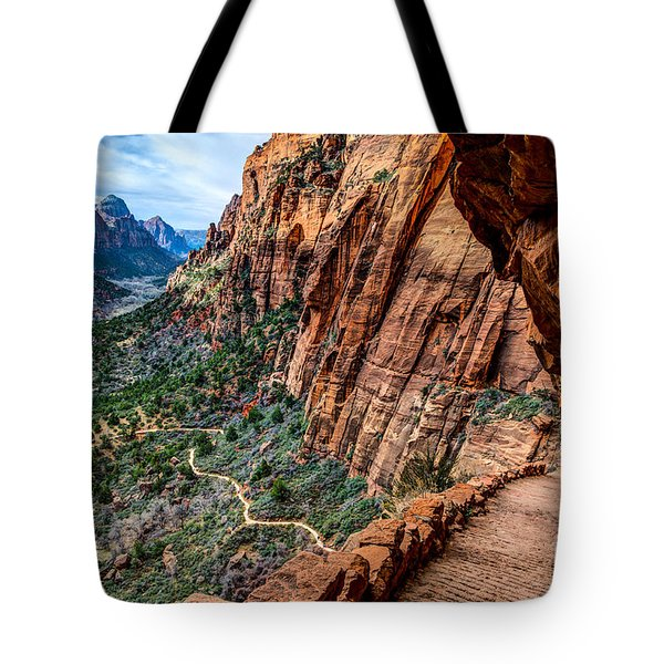 Angels Landing Trail from High Above Zion Canyon Floor Tote Bag by Gary Whitton
