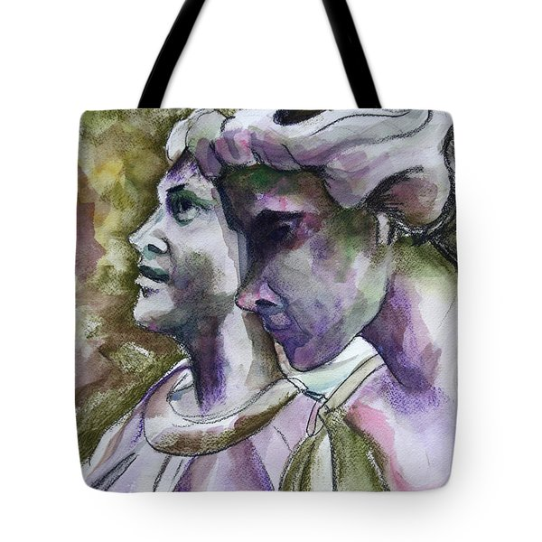 Angels Watching Over Tote Bag by Janet Felts