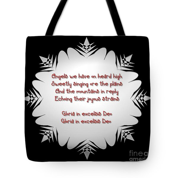 Angels we have heard on high Snowflake Tote Bag by Rose Santuci-Sofranko