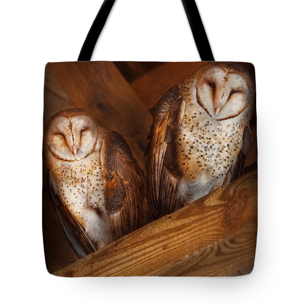 Animal - Bird - A Couple Of Barn Owls Tote Bag by Mike Savad