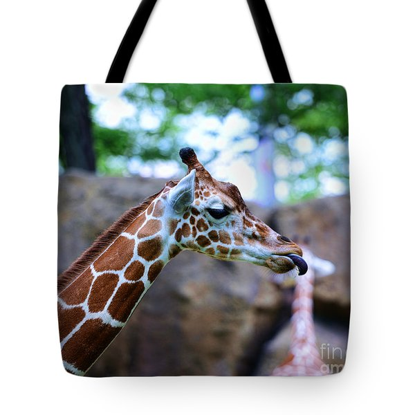 Animal - Giraffe - Sticking Out The Tounge Tote Bag by Paul Ward