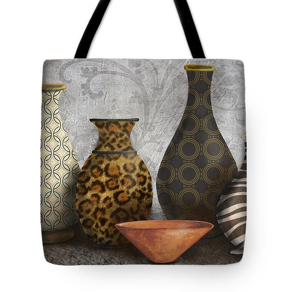 Animal Print Vase Still Life-A Tote Bag by Jean Plout