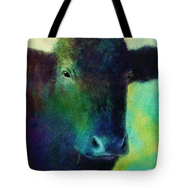 animals - cows- Black Cow Tote Bag by Ann Powell