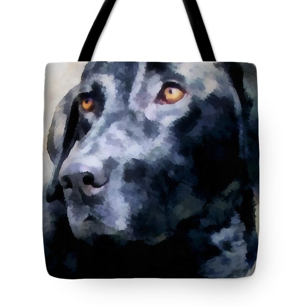 animals - dogs - Black Lab Tote Bag by Ann Powell
