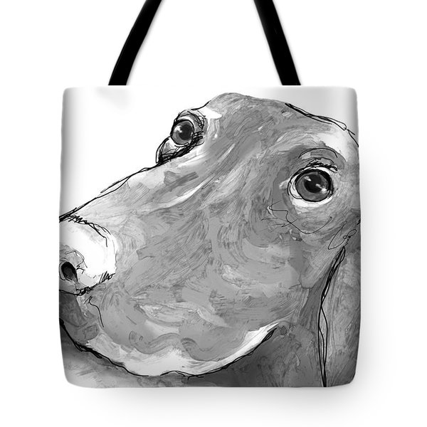 animals - dogs - Feed Me Please Tote Bag by Ann Powell
